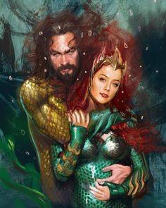 Mera and Aquaman Dc Comics Superheroes, Dc Comics Art, Marvel Dc Comics, Wallpaper Bonitos, Aquaman 2018, Dc Couples, Jason Momoa Aquaman, Dc Memes, Batman Vs Superman