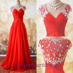 Beautiful red chiffon V-neck senior prom dress with rhinestones on top, occasion dress, prom dresses long #coniefox #2016prom