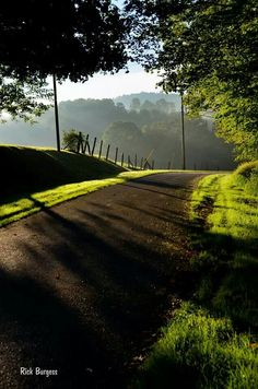 Morning sun on a road in Fayette Co., WV, by Rick Burgess