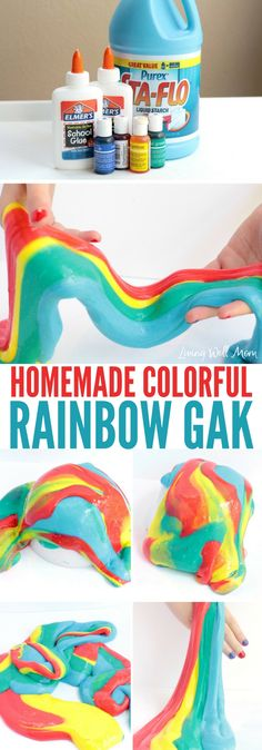 This easy colorful rainbow gak activity is a fun sensory activity kids of all ages will love! Find the easy step by step tutorial here. Camping Activities For Kids, Creative Activities For Kids, Sensory Activities, Creative Kids, Learning Activities, Sensory Play, Learning Tools, Cool Art Projects, Diy Projects For Kids
