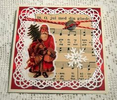 Christmas carol from old songbook. Santa sticker