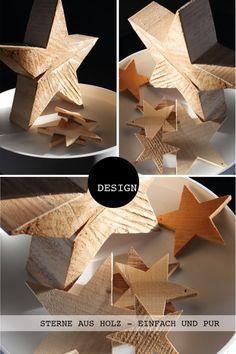 Sterne aus Holz, eine pure Weihnachtsdekoration.