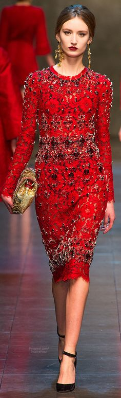Very few do the Lady in Red- it never gets old. It's simply dashing. Dolce & Gabbana #HelloRed