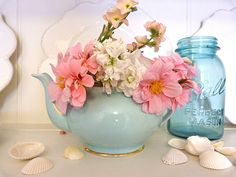 Love the teapot and jar - from a gorgeous site called Beachcomber x