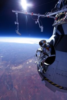 Photo of Felix Baumgartner just before he made the jump from the edge of space today!