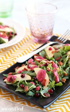 Arugula, Apple & Bacon Salad with Cranberry Vinaigrette - meatified Healthy Salad Recipes, Real Food Recipes, Vegetarian Recipes, Side Recipes, Whole 30 Recipes, Cranberry Vinaigrette, Cranberry Salad, Bacon Salad, Vinaigrette