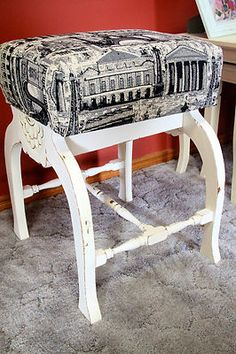 This was once a dodgy little seat with no cushion ... now a shabby chic Paris fabric stool!