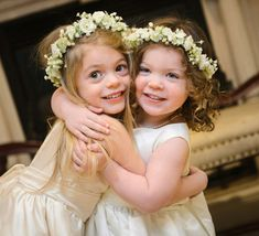 Flower Girl Wreath, First Communion Wreath, Wedding Flowers, Ivory Silk Rose and Babies Breath Hair Crown at Holly's Flower Shoppe.