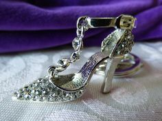 "High Heel Shoe Key Chain - 1-1/2"" Tall Rhinestone High Heeled Shoe - No Damages - Clean - Attached Key Fob for Practical Use by ChicAvantGarde on Etsy"