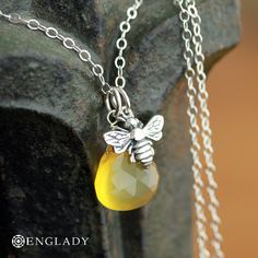 Honeybee and Golden Chalcedony, Sterling Silver Necklace via Etsy