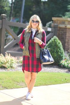 Fall layers, how to layer, buffalo plaid outfit ideas, fall outfit ideas, converse and dress.