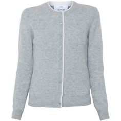 Allude Grey Button Front Cashmere Cardigan ($495) ❤ liked on Polyvore  featuring tops,