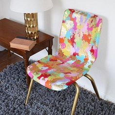 Gold leaf and paint transform an old plastic school chair. Dream a Little Bigger shows you how. 12 Clever & Fun DIY Projects to Update a Piece of Furniture You Hate