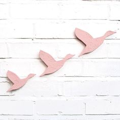 Ceramic wall art Soft rose pale pink Flying Ducks Set of 3 stoneware pottery birds Home decor 3d painting sculpture Modern classic retro