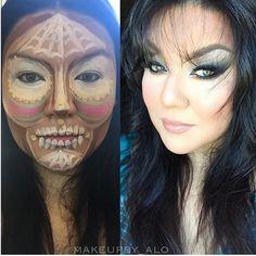 Maquiagem com contorno de palhaço