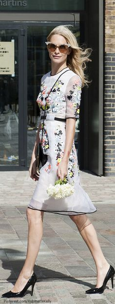 Poppy Delevigne #poppy - love the ditsy organza dress chiced up with black trims