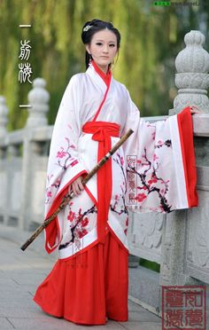 Plum blossoms Two-piece set Spray painting Curving-front robe Women Quju Hanfu… Chinese Wedding Dress Traditional, Traditional Fashion, Traditional Dresses, Traditional Chinese, Oriental Dress, Oriental Fashion, Asian Fashion, Chinese Fashion, Hanfu