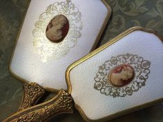 SALE  Vintage Cameo Mirror and Brush Vanity Set by DustandAll on Etsy, $70.00