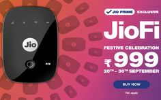 Reliance Jio has declared that its 4G hotspot hub JioFi will be obtainable at a 50% discount under a new festival special offer. JioFi festive offer with restricted period validity. Under the offer, the reliance Jio JioFi device is handy at a price of ₹999.