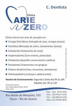 Atendemos todas as especialidades de Odontologia na Clínica Cárie Zero - Tijuca RJ Ligue 3174-3324 ou 97117-1234 whatsapp e agende a sua consulta.