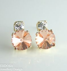 Peach crystal earrings | Peach wedding | Peach Bridesmaid earrings | Swarovski crystal earrings | #EndoraJewellery $20.00