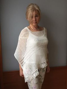Knitted linen poncho Natural clothes Organic fashion Natural Linen