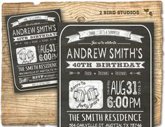 30th birthday invitation - Male birthday party invitations- 30th 40th 50th 60th - CHALKBOARD DIY printable invite