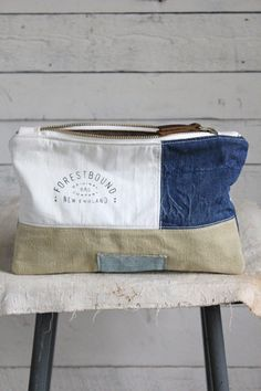 1940's era Pieced Canvas and Denim Utility Pouch - FORESTBOUND