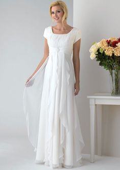 A-line Square Kralen Pleats Chiffon Mother of the Bride Jurkjees