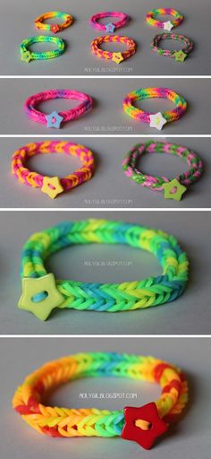 rubber band bracelet with star button. In French but excellent pictorial. Can be translated.  12/14  js