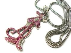 Silver Iced Out Pink Panther Pendant and 36 Inch Franco Chain Necklace: Jewelry: Amazon.com