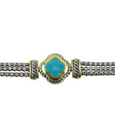 Look what I found on #zulily! Two-Tone & Turquoise Three-Link Bracelet #zulilyfinds