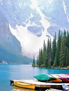 Canoeing at Moraine Lake? Yes please! Alberta, Canada