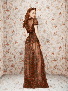 Peek-a-boo! Sheer 1950s inspired floor length dress with rose print | by Ulyana Sergeenko
