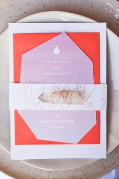 Geometric Wedding Invitations, we love this! the semi-precious stone really finishes it off
