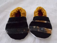 Baby Booties Birth to Nine Months Upcycled Blue and Yellow Tie Dye Tapestry Black Striped Light Weight Fabric by BettieJune on Etsy