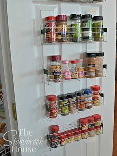 Spice racks made from Dollar store cooling racks at a fraction of the cost. by The Stonybrook House Diy Spice Rack, Magnetic Spice Racks, Spice Storage, Extra Storage, Spice Rack Dollar Tree, Spice Rack Metal, Storage Hacks, Storage Ideas, Shelving Ideas