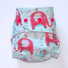 All In Two Cloth Diaper with Pink Elephant Print  One by Tooshas, $22.00