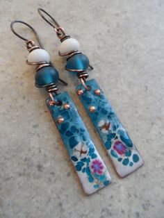 Out of the Blue ... Enameled Copper, Antique Desert Glass Lampwork and Copper Wire-Wrapped Boho, Earthy, Beachy Earrings