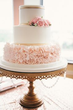 Pink wedding cake idea; featured photographer: Still55 Photography