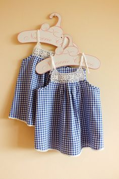 Gingham Dress with Crochet Lace Yoke