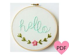 Embroidery Pattern PDF PatternHello Hand Embroidery Pattern Instant Download PDF Printable Stitching Pattern (7.00 USD) by cinderandhoney