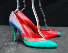 Vintage 70er Jahre Farbe Block Polkadot NORMAN KAPLAN Schuhe Leder Pumps NOS Größe 8 M Kunst Fersen von Thekaliman