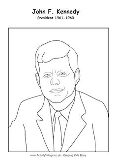 president craft john f kennedy john f kennedy colouring page trace the
