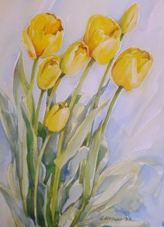 Bright yellow tulips original watercolor by SunnyWatercolour