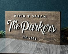 Anniversary Gift, Last Name Sign, Custom Family Name Sign, Established Sign, Personalized Wedding Si Last Name Wood Sign, Last Name Signs, Family Wood Signs, Family Name Signs, Personalized Wood Signs, Personalized Wedding, Wooden Signs, Wooden Decor, Wedding Signs