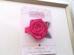 Fuchsia Pink Satin Rosette Feather Clip Guinea by PlumPolkaDot