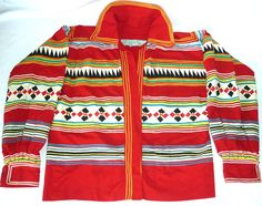 Beautiful SEMINOLE, Florida USA, American Indian Men's Patchwork Jacket 1940/50s