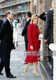 Prince Edward, The Earl of Wessex and Sophie Countess of Wessex arrive for a lunch hosted by the Norwegian Royal Family on their yacht moored on the River Thames on October 27, 2005 in London, England.
