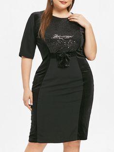 0b7f73aa9c Plus Size Bowknot Paillette Knee Length Dress Plus Size Bodycon Dresses